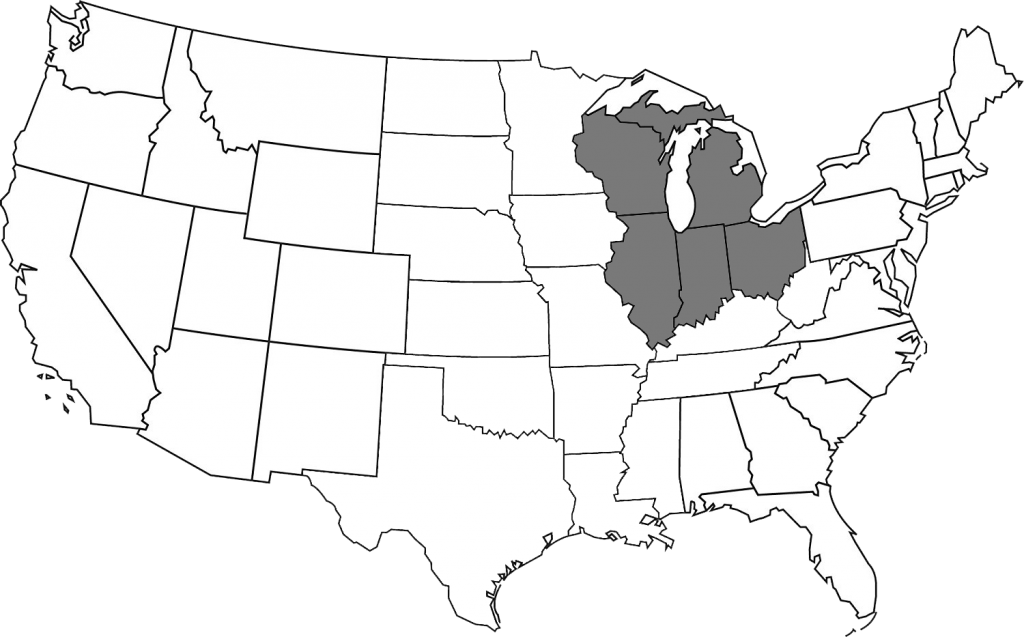 Map of the United States with the members of the Midwest Zonal Forum Highlighted